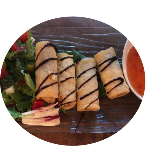 Paneils Benidorm: Duck Spring Rolls with sweet chilli dip.